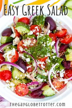 This easy Greek salad is loaded with fresh tomatoes cucumbers peppers onions olives and feta. It doesn't get any more delicious than this. I love making authentic Greek recipes and this easy greek salad definitely takes the cake! Authentic Greek Salad Dressing, Homemade Greek Dressing, Easy Greek Salad Recipe, Greek Salad Recipes, Greek Salad Recipe Authentic, Feta, Side Dishes Easy, Salad Bowls, Healthy Recipes