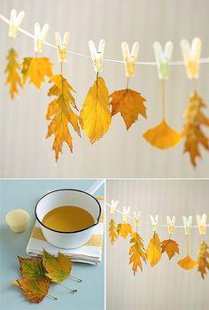 DIY Wax-Dipped Hanging Leaves (via martha stewart) simplemente hay que sumergirlas en cera y colgarlas para que endurezcan.