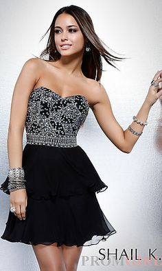 Strapless Short Beaded Cocktail Dress by Shail K at PromGirl.com