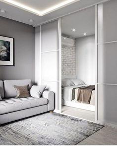 Condo Interior Design, Small Apartment Interior, Small Apartment Design, Studio Apartment Decorating, Small Room Design, Home Room Design, Interior Design Living Room, One Room Apartment, Studio Apartment Layout