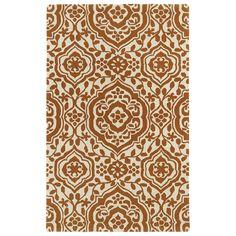 Kaleen Rugs Hand-tufted Runway Pumpkin/ Ivory Damask Wool Rug