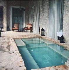 Indoor pool with oriental influence