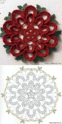 Watch The Video Splendid Crochet a Puff Flower Ideas. Phenomenal Crochet a Puff Flower Ideas. Crochet Doily Diagram, Crochet Motif Patterns, Crochet Flower Tutorial, Crochet Mandala, Crochet Art, Thread Crochet, Crochet Designs, Crochet Crafts, Crochet Flowers