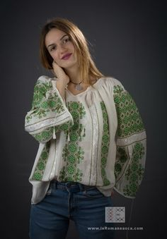 the art of handmade embroidery since 2000 ie Romaneasca - Romanian Blouse Peasant Blouse, Blouse Dress, Folk Costume, Costumes, Blouse Online, Ethnic Fashion, Traditional Outfits, Bohemian Style, Rustic