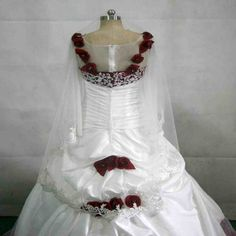 White Wedding Dress With Red Roses