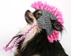Mohawk dog hat created from acrylic yarn! This hat features ear holes, ear flaps and a fun mohawk fringe! Available in Multiple colours! Please choose your mohawk colour on check out!  https://www.etsy.com/shop/PetitDogApparel?section_id=14959271&ref=shopsection_leftnav_8