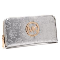 Michael Kors Jet Set Continental Logo Large Silver Wallets