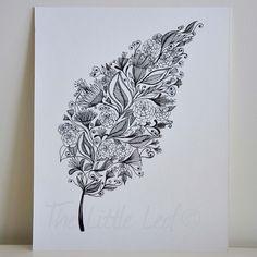 """Patterned Leaf Art Drawing 8x10"""" Print Unframed. $18.00, via Etsy."""
