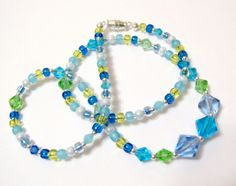 Blue Lagoon Casual Chic Seed Bead and Crystal 18 by OklahomaMama, $10.00