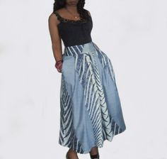 Blue & White African Print Long Maxi Skirt  in 5 by BrookandEnvy, $60.00