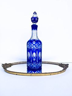 Azul de cobalto Checo Bohemia Vintage corte a decantador de