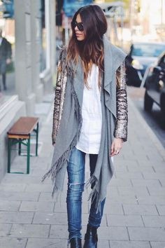 sexy Street style jeans + blouse + high heels  + scarf  + night out jacket! perfect daily combination!