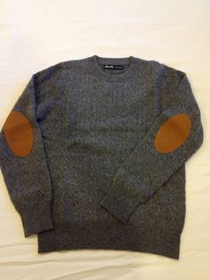 BEAMS BOY 9G cashmere cable patch crew sweater