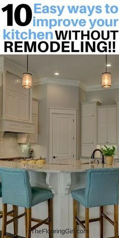 10 Easy ways to improve your kitchen WITHOUT remodeling.  #kitchen #decor #homedecor #whitecabinets #remodel