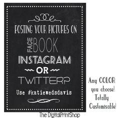 Hashtag Sign for tables or Wedding Chalk Art, Chalkboard Wedding, Wedding Signage, Wedding Reception Decorations, Hashtag Wedding, Aqua Wedding, Wedding Ties, Instagram Printer, Instagram Hashtag