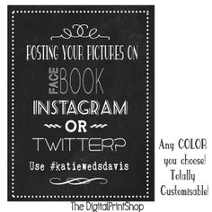 Custom PHOTOBOOTH Sign Hashtag instagram Wedding Reception Decoration Digital 5x7,8x10,11x14,Personalized Printable Art, downloadable