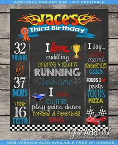 Hot Wheels Chalkboard Poster PhotoProps or Keepsakes - Customized Printable File - ANY AGE Birthday