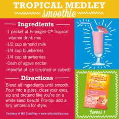 Tropical Emergen-C Smoothie. (Use coconut milk) Yummy Smoothies, Juice Smoothie, Healthy Drinks, Healthy Food, Healthy Recipes, Vitamin C Drinks, Agave Nectar, Nutribullet, Mixed Drinks