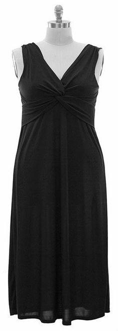 NWT Plus size. Maxi Knotted Dress - Black.01 Cent Bid! Size 1X