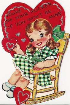 Vintage Valentine Girl in a Rocker