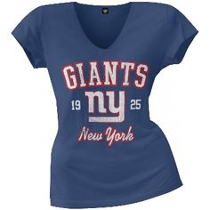 New York Giants fans will feel like they've had this navy 100% cotton v-neck tee forever. With the team's name, logo, and inaugural year in a semi-transparent, distressed print, fans can have that vintage look instantly.