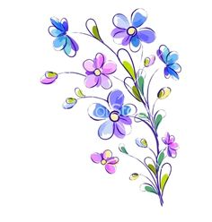 Vertical background with bright violet flowers vector by Alchena on VectorStock®