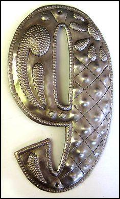 "# 9 - 4 1/2"" High Handcrafted Metal House Number - Address Sign - Haitian Steel Drum Art - $7.95  - Steel Drum Metal Art from  Haiti -  Garden Décor - Caribbean Art   * Found at  www.HaitiMetalArt.com"
