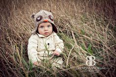 Fall Inspiration six month old baby with cute hat and sweater. Hat from Etsy. Photographer Brenda Landrum