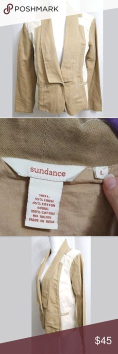 """Sundance Catalog Linen Blend Blazer Jacket Beige/C This is a Sundance Catalog Linen Blend Blazer Jacket Beige/Cream Pockets LARGE.  There are no stains, snags, or holes.   Measurements: (When laid flat)  Armpit to armpit: 22"""" Top of shoulder to bottom: 22.5""""  Product material:  Shell: 55% Linen 45% Cotton Lining: 100% Cotton  Inventory #: Sundance Jackets & Coats Vests"""