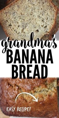 This old fashioned banana bread tastes just like Grandma's! You can add nuts or leave them out. Grandma's Banana Bread Recipe, Moist Banana Bread, Banana Bread Muffins, Banana Bread Recipes, Cornbread Recipes, Jiffy Cornbread, Easy Sweets, Quick Easy Desserts, Awesome Desserts
