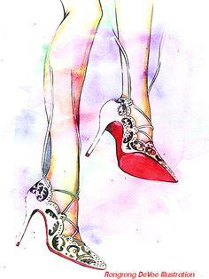 Fashion illustration print Watercolor por RongrongIllustration, $10.00