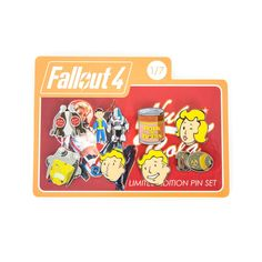The first of seven Emoji Collectible Pin Sets includes a Vault Boy, Vault Girl, Mini-Nuke, Nuka Cola Bottles, Party Boy Perk, Pork and Beans, Protectron with Vault Dweller and Super Mutant!  This set of 8 beautiful enamel pins is the perfect accessory for wandering about the wasteland (or a con).