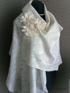 """Купить Шаль-паутинка """"Белоснежное облако"""" - белый, палантин, подарок, шаль, шарф, паутинка"""
