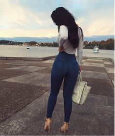 Casual outfits classic high waist skinny jeans – medium blue on Mode Outfits, Casual Outfits, Fashion Outfits, Womens Fashion, Jeans Fashion, Fashion Fashion, Latest Fashion, Sweet Fashion, Fashion Trends