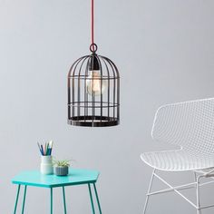 Cage Lamp by FILAMENTSTYLE from Luxembourg   Metal. Cable: Textile. Fixture: Porcelain   #MONOQI
