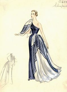 Elsa Schiaparelli Dress by FIT Library Department of Special Collections, via Flickr  #fashion #evening_gown