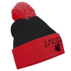 5SOS: Black and Red Embroidered Bobble Hat $22