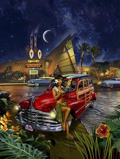 Rick Rietveld's Tiki Club. A great kitchy painting that combines Hawaiiana and nostalgia.