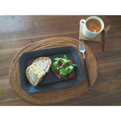スクエアプレートM(黒マット)Rectangle Plate (M /Black mat) /Awabi ware - Instagram photo by @kico_06 (Kico) | Iconosquare