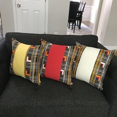 These bold and beautiful African print cushions will be the perfect complement to your couch and the focal point in any room in your home or office. Printed Curtains, Printed Cushions, Decorative Cushions, Ankara Bags, African Christmas, African Home Decor, Great Housewarming Gifts, White Trim, House Warming