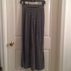 Black and white stripe cotton maxi skirt Great condition Charlotte Russe Skirts Maxi