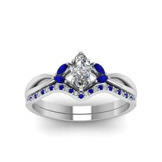 Marquise Cut Twisted Diamond Bridal Wedding Ring Sets with Blue Sapphire in 18K White Gold exclusively styled by Fascinating Diamonds