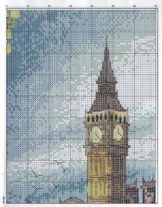 London scene 3 of 6 Cross Stitch House, Just Cross Stitch, Cross Stitch Charts, Cross Stitch Designs, Cross Stitch Patterns, Diy Embroidery, Cross Stitch Embroidery, Cross Stitch Numbers, Cross Stitch Landscape