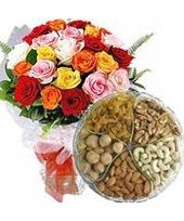 Midnight Dryfruits Suprise 1 Kg. Assorted Dry Fruits and 24 Mixed Roses at midnight