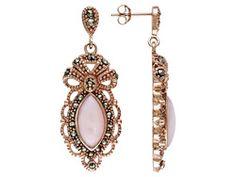 Tillya Treasures (Tm) Peruvian Pink Opal & Marcasite 18kt Rg Over Sterling Dangle Earrings