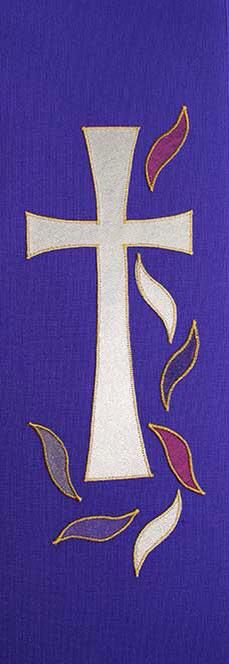 Purple cross and flames church stole