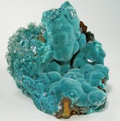 Rosasite with Calcite - Ojuela Mine, Mapimi, Durango, Mexico
