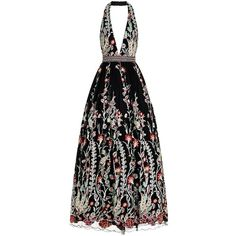 Jovani Embroidered Floral Halterneck Gown (€1.560) ❤ liked on Polyvore featuring dresses, gowns, jovani gowns, floral gown, floral ball gown, bohemian dresses and halter gown