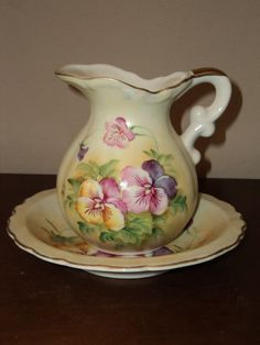 Vintage Lefton Hand Painted China Pitcher and Bowl - NICE!!!