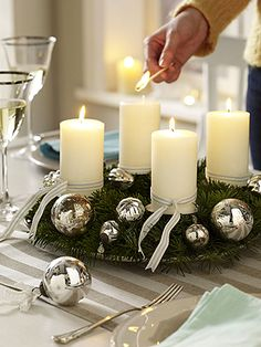 Below are the Christmas Candles Decoration Ideas. This article about Christmas Candles Decoration Ideas was posted under the Home Decor Ideas category by our team at January 2019 at pm. Hope you enjoy it and don't forget to . Elegant Christmas Decor, Christmas Decorations For The Home, Christmas Table Settings, Beautiful Christmas, Noel Christmas, Christmas Candles, Christmas Centerpieces, Christmas Wreaths, Christmas Crafts